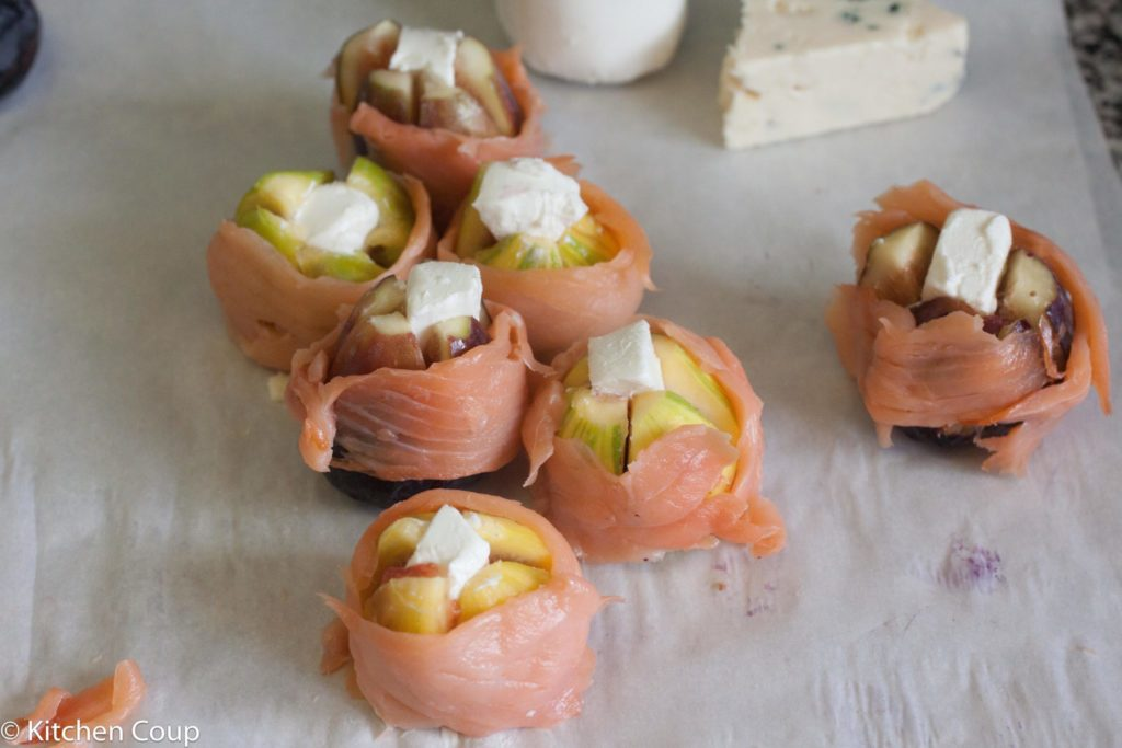Smoked Salmon Wrapped Figs With Goat Cheese